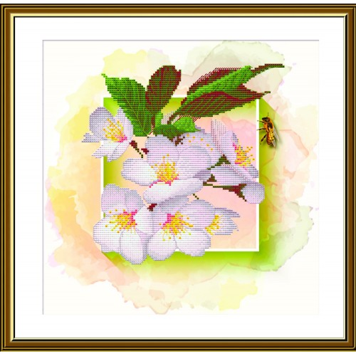 """Набір для вишивки нитками на канві з фоновим зображенням """"Фруктовий сад. Слива"""""""