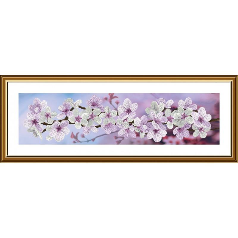 """Набор для вышивки нитками на канве с фоновым изображением """"Весны цветение"""""""