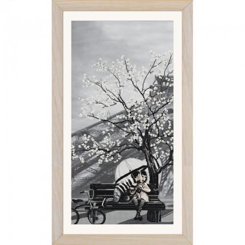 """Набір для вишивки нитками на канві з фоновим зображенням """"Париж-місто кохання. Юність"""""""