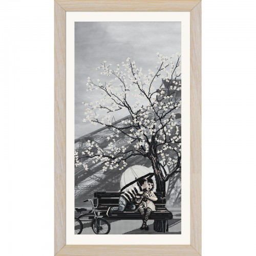 """Набор для вышивки нитками на канве с фоновым изображением """"Париж-город любви. Юность"""""""