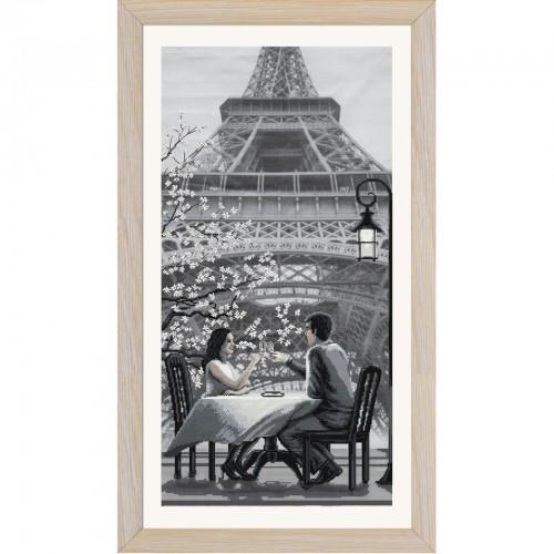 """Набір для вишивки нитками на канві з фоновим зображенням """"Париж-місто кохання. Молодість """""""