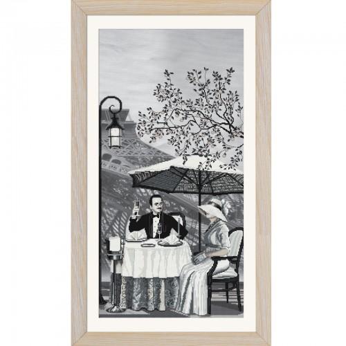 """Набір для вишивки нитками на канві з фоновим зображенням """"Париж-місто кохання. Зрілість"""""""