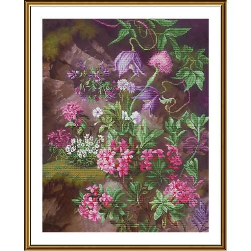 """Набор для вышивки нитками на канве с фоновым изображением """"Лесной пурпур"""""""