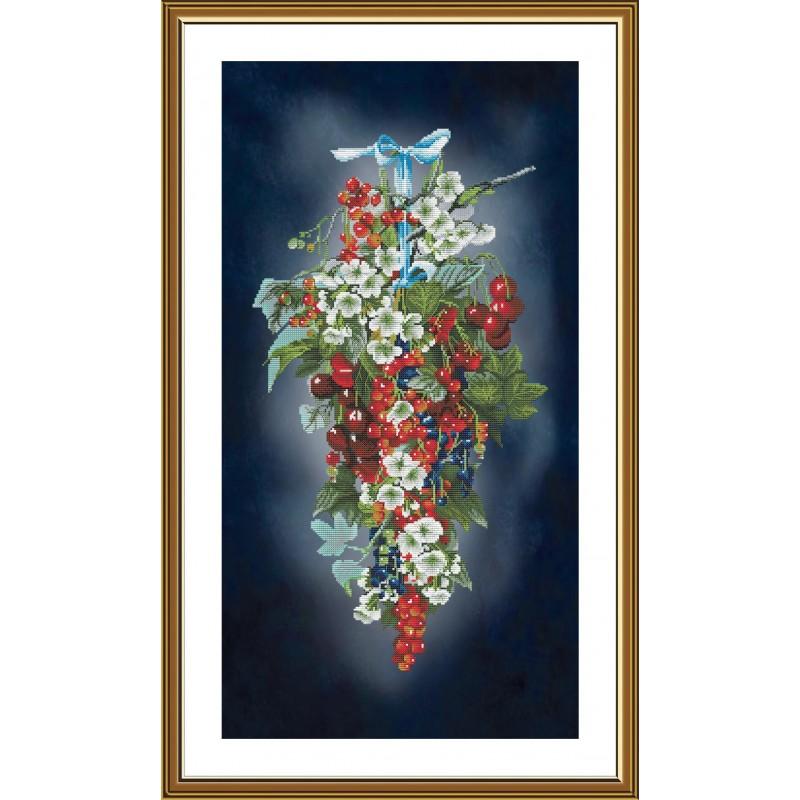 """Nova Sloboda - Набор для вышивки нитками на канве с фоновым изображением """"Ягодный каскад"""" / фото №5127"""
