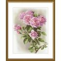 """Набор для вышивки нитками на канве с фоновым изображением """"Розовая соната"""""""