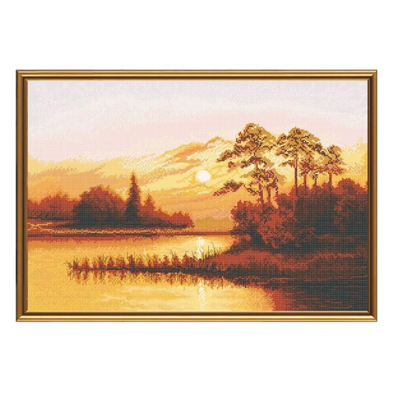 """Набір для вишивки нитками на білій канві """"Захід сонця над озером"""""""