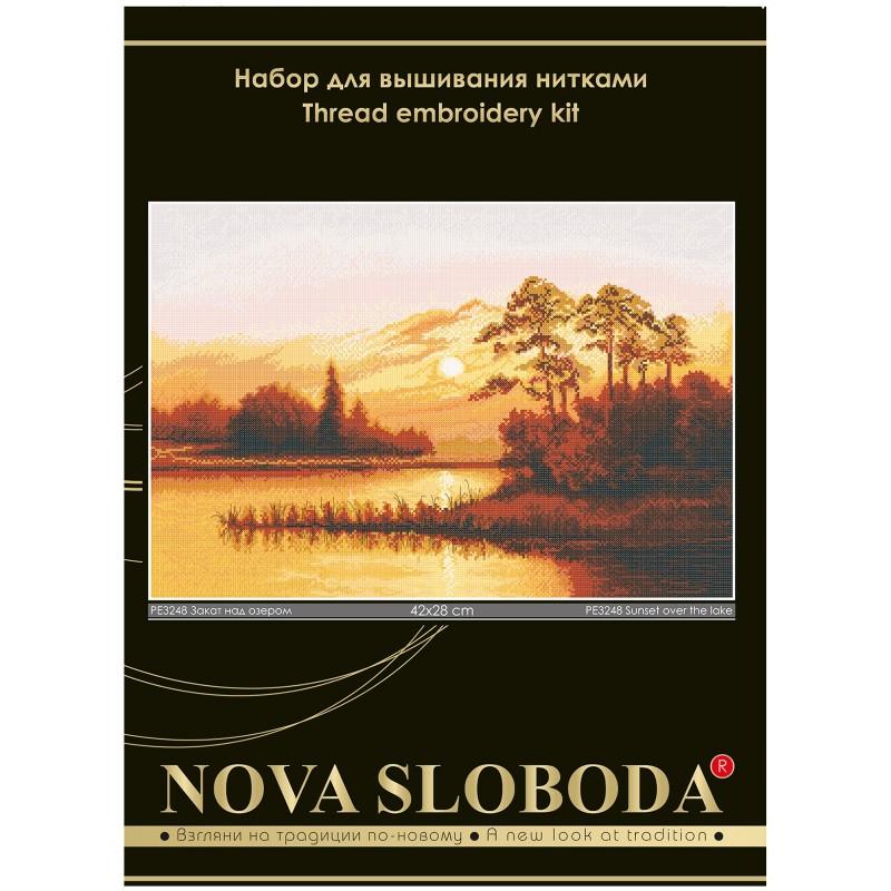 """Nova Sloboda - Набір для вишивки нитками на білій канві """"Захід сонця над озером"""" / фото №54"""