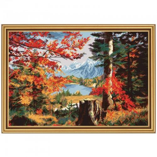 """Набор для вышивки нитками на белой канве """"Осень в долине"""""""