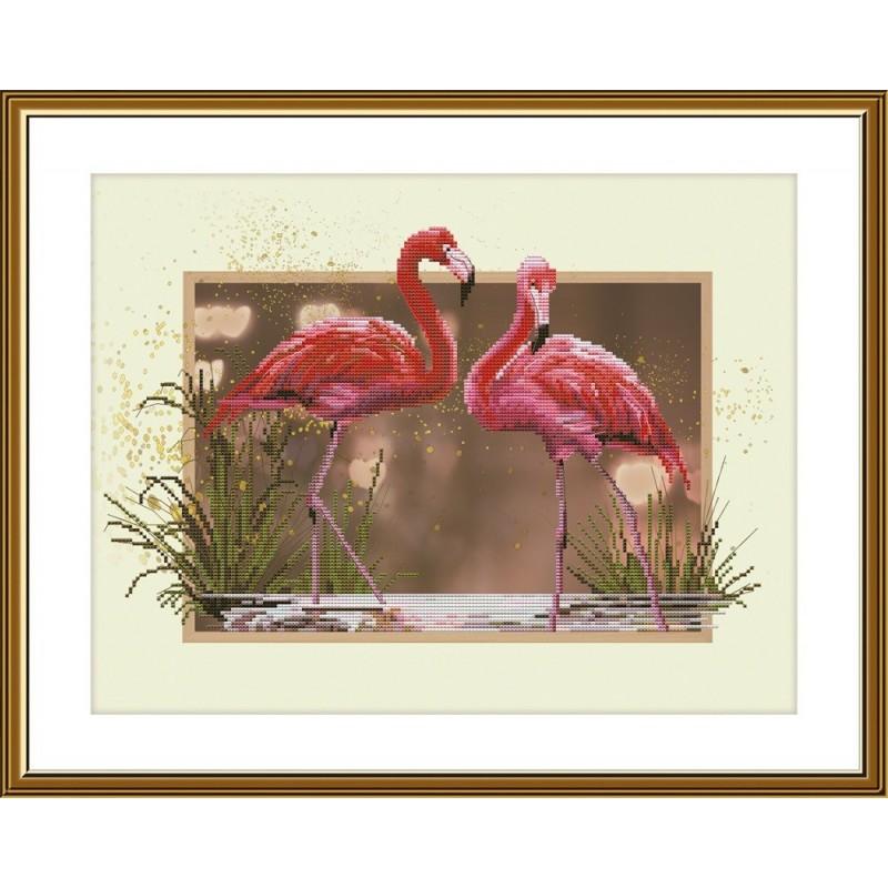 """Набор для вышивки нитками на канве с фоновым изображением """"Фламинго"""""""
