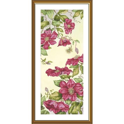 """Набор для вышивки нитками на канве с фоновым изображением """"Весенний клематис"""""""