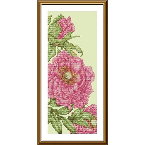 """Набор для вышивки нитками на канве с фоновым изображением """"Розовые маки"""""""