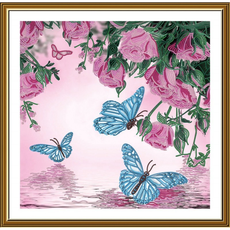 """Nova Sloboda - Ткань со схемой для вышивки бисером """"Летний дождь"""" / фото №5797"""