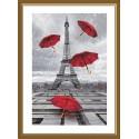 """Набор для вышивки нитками на канве с фоновым изображением """"А в Париже дожди!"""""""