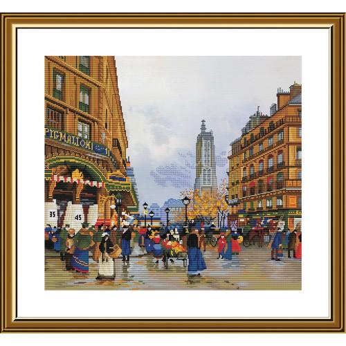"""Набор для вышивки нитками на канве с фоновым изображением """"Легенды Парижа. Сен-Жак"""""""""""