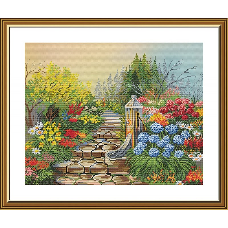 """Набор для вышивки нитками на канве с фоновым изображением """"Таинственный сад"""""""