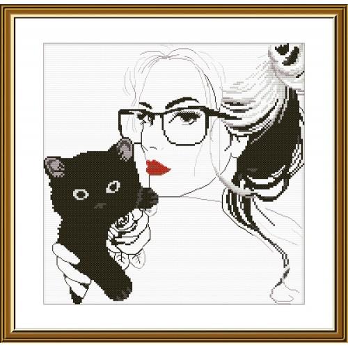 """Набор для вышивки нитками на белой канве """"Милый котёнок"""""""