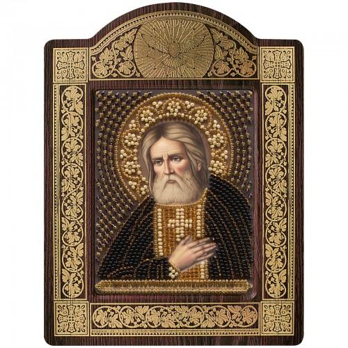 """набір для вишивки ікони в рамці-кіоті """"Ікона Прсв. Богородиці «Св. Прп. Серафим Саровський»"""