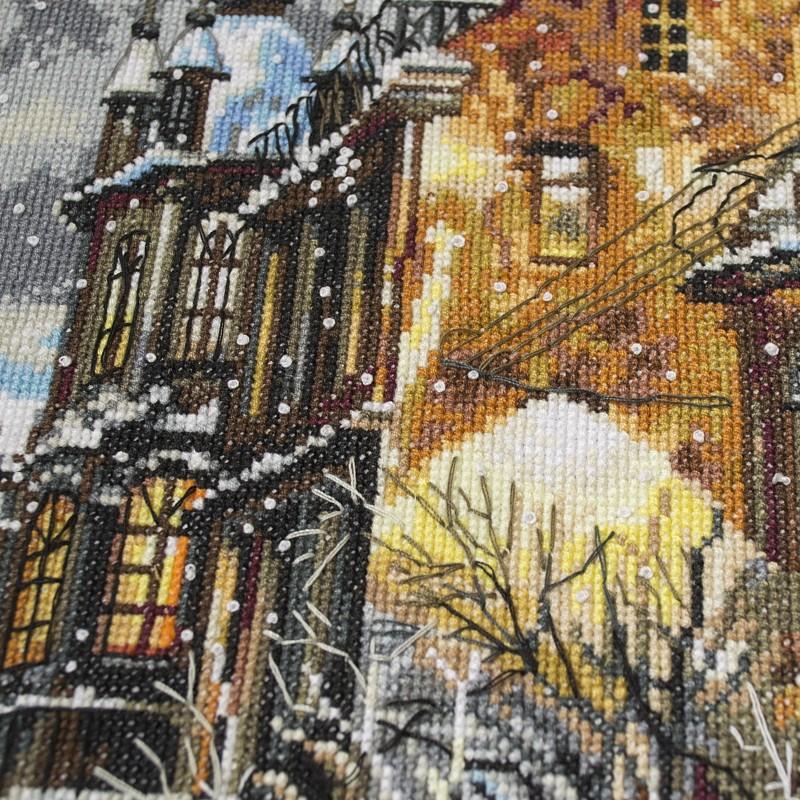 """Nova Sloboda - Набор для вышивки нитками на белой канве """"Снег в городе"""" / фото №68"""