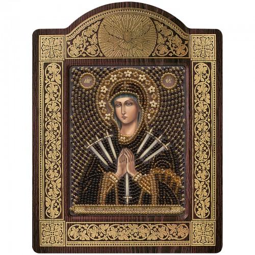 """Набір для вишивки ікони в рамці-кіоті """"Ікона Прсв. Богородиці «Пом'якшення злих сердець»"""