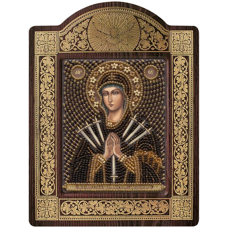 """Набір для вишивки ікони в рамці-кіоті """"Ікона Прсв. Богородиці «Пом'якшення злих сердець"""""""