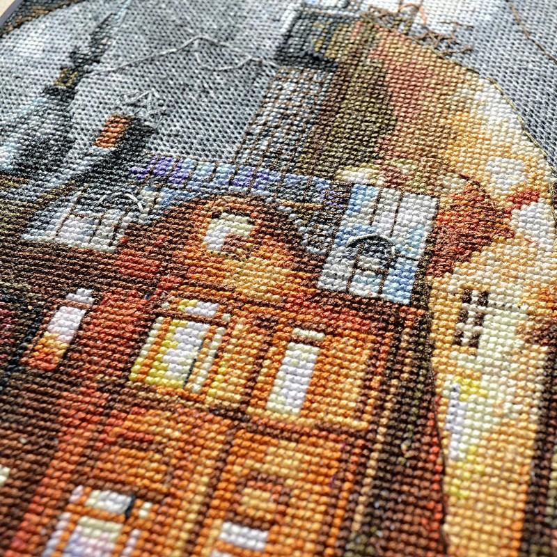 """Nova Sloboda - Набір для вишивки нитками на білій канві """"Нічне місто"""" / фото №72"""