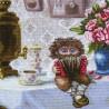 """Набір для вишивки нитками на канві з фоновим зображенням """"Домовик з гармошкою"""""""